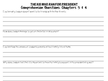 The Kid Who Ran for President by Dan Gutman: A Complete Novel Study!