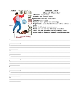 The Kid in the Red Jacket Chapter 5-8 Vocabulary