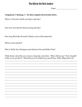 The Kid in the Red Jacket Comprehension Packet