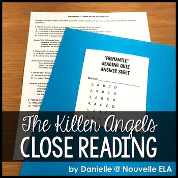 The Killer Angels - Reading Comprehension Quiz (Fremantle)