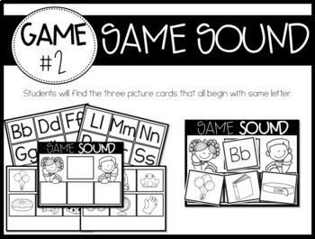 The Kinder Games! {5 Letter/Sound Games} B/W