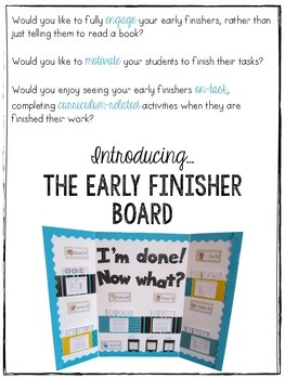 The {Kindergarten} Early Finisher Board™: The Complete 40 Weeks
