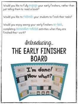 The {Kindergarten and First Grade} Early Finisher Board™ Combo Pack BUNDLE