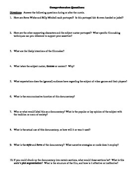 The King of Kong: A Fistful of Quarters Film (2007) Study Guide Movie Packet