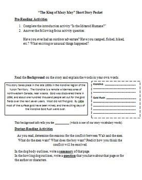 Reading Comprehension Activities for The King of Mazy May by J. London