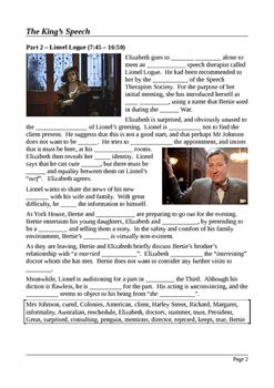 The King's Speech - Plot Summary in Cloze Test Format