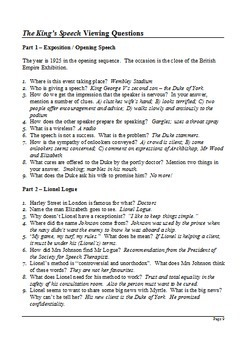 The King's Speech - Viewing Questions
