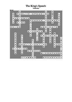 The King's Speech - Vocabulary Crossword