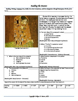 "Intervention & Test Prep with ""The Kiss"" by Gustav Klimt"