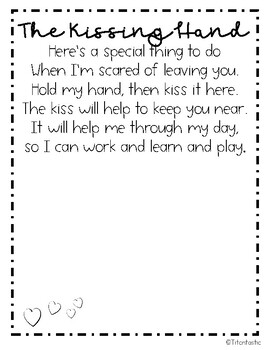 The Kissing Hand Book Extension -- Great for the First Day of School