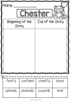 The Kissing Hand Character Traits Sorting - First Day of School