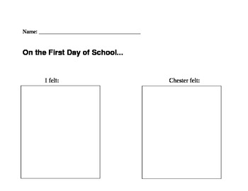 The Kissing Hand Comparison Text to Self First Day of School