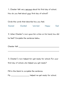 The Kissing Hand- First Day of School Activity