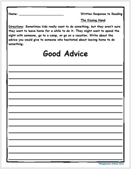 The Kissing Hand Intermediate Activity Packet