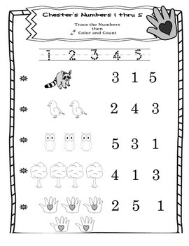 The Kissing Hand Numbers 1 through 5