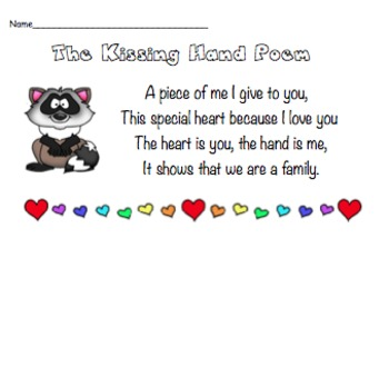 picture relating to Kissing Hand Printable known as Kissing Hand Poem Worksheets Coaching Products TpT