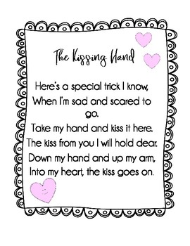 graphic regarding Kissing Hand Printable identify Kissing Hand Poem Worksheets Instruction Products TpT
