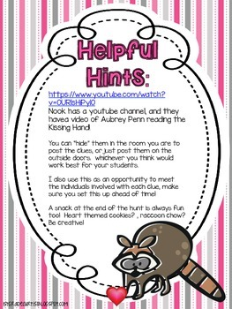 The Kissing Hand Scavenger Hunt...Back to School (Not Editable)