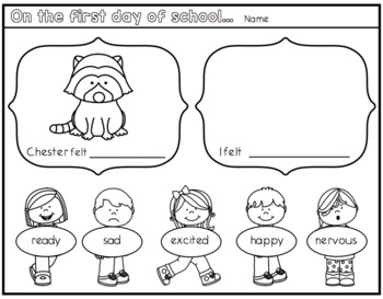 The Kissing Hand a First Day of School Worksheet.