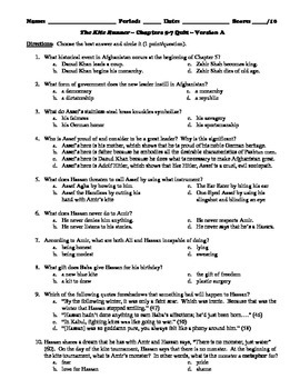 The Kite Runner 190 Multiple Choice Questions from Chapter Quizzes or Test