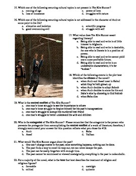 The Kite Runner 55-Question Matching and Multiple Choice Test