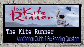 The Kite Runner: Anticipation Guide and Pre Reading Questions