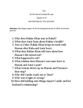 The Kite Runner/Catfish Quiz