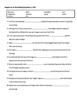 The Kite Runner Chapters 1-10 Vocabulary Quiz/Test/HW