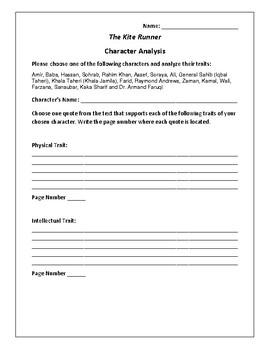 The Kite Runner - Character Analysis Activity - Khaled Hosseini