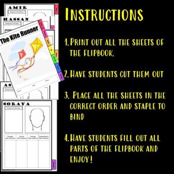 The Kite Runner Characterization Flip book
