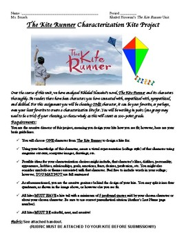 The Kite Runner Characterization Kite Project