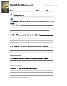 The Kite Runner Comprehension Questions: Chapter 1-2