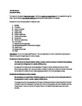 The Kite Runner Final Essay Assignment