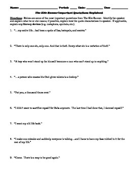 The Kite Runner Important Quotations Explained Mini-Lesson Reading Strategy