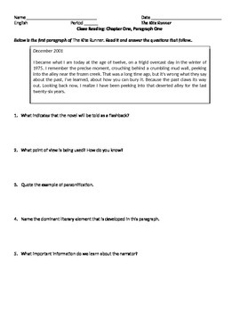 The Kite Runner Introductory Close Reading