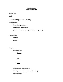 The Kite Runner Notes/Outline of the Book