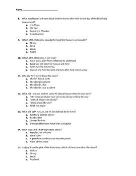 The Kite Runner Novel Exam
