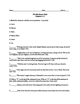 The Kite Runner Quiz, Chapters 1-11