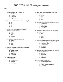 The Kite Runner Quizzes & Final Exam - Chapters 1-25 with Answer Key