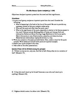 The Kite Runner Quote Analysis Activity