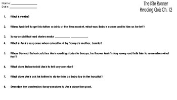 The Kite Runner: Reading Comprehension Quiz Chapter 12