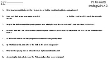 The Kite Runner: Reading Comprehension Quiz Chapter 21