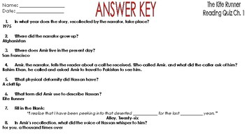 The Kite Runner: Reading Comprehension Quiz Chapter One