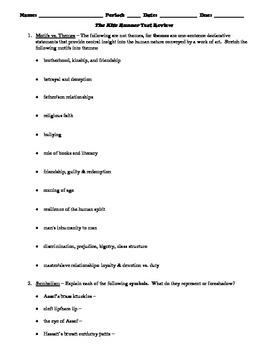The Kite Runner Test Review Worksheet