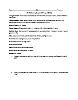 The Kite Runner Vocabulary and Questions, Chapters 10-11