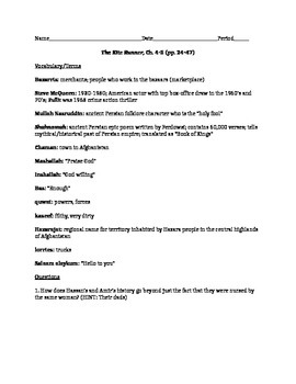 The Kite Runner Vocabulary and Questions, Chapters 4-5