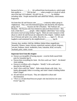 The Kite Runner, by Khaled Hosseini.  Plot Summary Cloze Format
