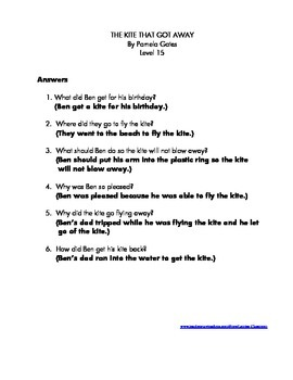 The Kite That Got Away: Comprehension Questions and Answers