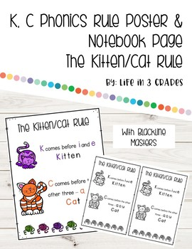 The Kitten/Cat Rule Poster for the Phonics K,C Rule with Notebook Page