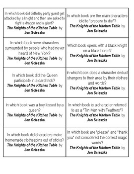 The knight of the kitchen table quiz cards by books and dirt tpt the knight of the kitchen table quiz cards watchthetrailerfo